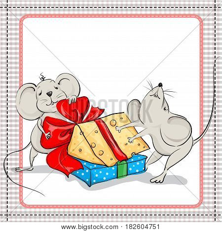The little mouse with the gift and with a piece of cheese