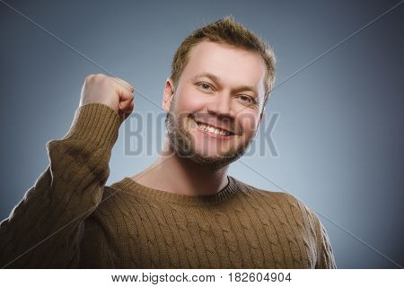 Closeup portrait successful happy man isolated grey background. Positive human emotion face expression. Life perception achievement vision.