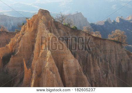 A unique pyramid shaped mountains cliffs in Bulgaria, near Melnik town and Rozhen monastery.