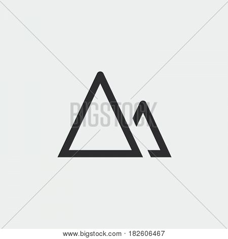 terrain icon mountains sign isolated on white background .