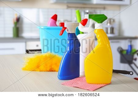 Cleaning supplies on kitchen table