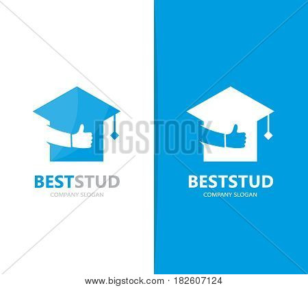 Vector of graduate hat and like logo combination. Study and best symbol or icon. Unique college and university logotype design template.
