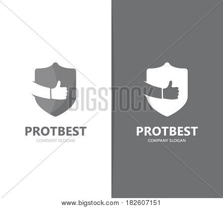 Vector of shield and like logo combination. Security and best symbol or icon. Unique protect and lawyer logotype design template.
