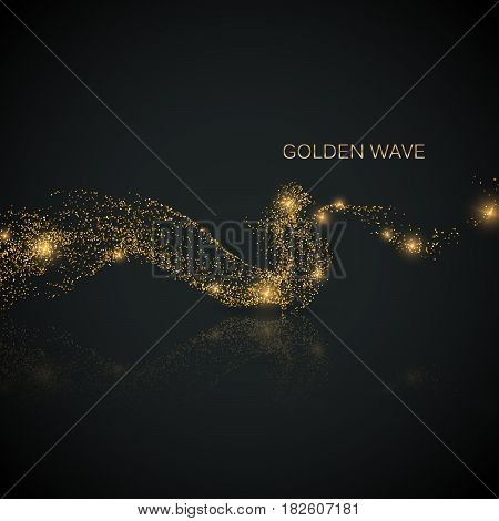Glittering stream of gold sparkles.. Vector illustration of golden wave. Design element with sparkling effect on black reflective background. Glitter effect