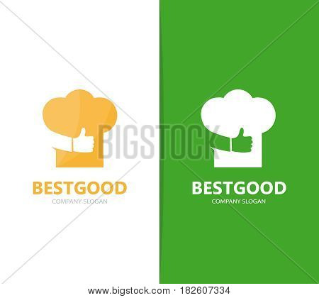 Vector of chef hat and like logo combination. Kitchen and best symbol or icon. Unique cook and restaurant logotype design template.