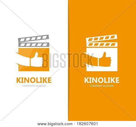 Vector of clapperboard and like logo combination. Cinema and best symbol or icon. Unique video and film logotype design template.
