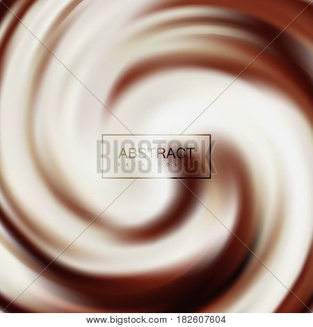 Swirling milk and chocolate whirlpool. Vector food illustration of twisted background. Chocolate texture imitation. Applicable for food products ads or packaging design