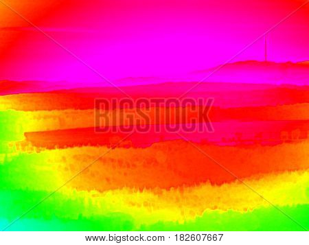 Animal Infrared View. Hilly Landscape, Forest With Colorful Fog