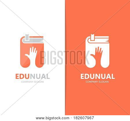 Vector of hand and book logo combination. Arm and library symbol or icon. Unique bookstore and support logotype design template.