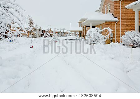 Picture of the  Snow winter in small Canadian town