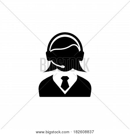 Online consulting solid icon, seo and development, female operator sign, a filled pattern on a white background, eps 10.