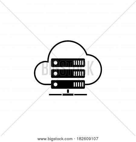 Cloud hosting solid icon, seo and development, data base server sign, a filled pattern on a white background, eps 10.