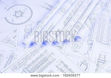 Technical engineering drawing, details of drive industrial chain, sprocket and mechanisms.  Mechanical engineering, technology of metal processing. Engineer blueprint.