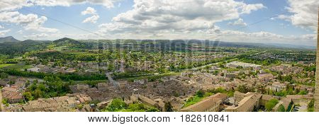 a panorama of the small town of Crest in the Drome France
