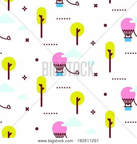 Amusement park promenade vector pattern illustration. Air balloon in the day sky white seamless background.