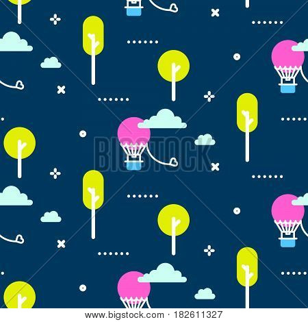 Amusement park promenade vector pattern illustration. Air balloon in the evening sky blue seamless background.