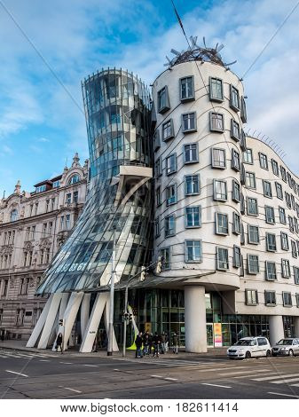 PRAGUE, CZECH REPUBLIC - MARCH 5 2017: Dancing House or Ginger and Fred, Prague, Czech Republic