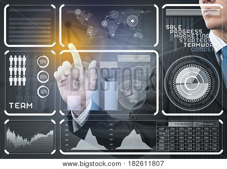 Close view of businessman working with virtual panel interface