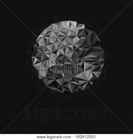 Illustration of the first planet in the solar system. Planet Mercury. Earth planet in the solar system without the atmosphere. Vector abstract planet Mercury