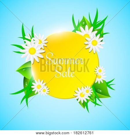 Summer Sale. Orange light banner. Fresh leaves grass and flowers. Beautiful chamomile. Drops of dew. Brilliant water flows down. A realistic illustration in a summer style. Ecology. EPS 10