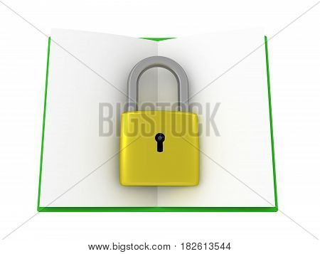 3D illustration of an opened green book with a pad lock on it. This image conveys the concept of locked away knowledge.