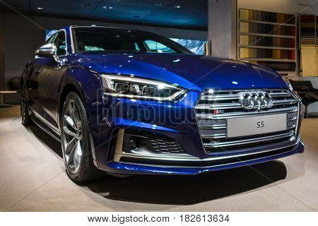 BERLIN - NOVEMBER 09 2016: Showroom. Compact executive car Audi S5 Sportback 3.0 TFSI quattro tiptronic. Produced since 2013 (facelifted).