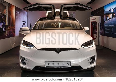 BERLIN - NOVEMBER 09 2016: Showroom. The full-sized all-electric luxury crossover SUV Tesla Model X. Produced since 2016.