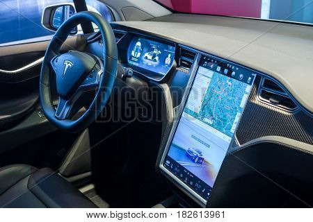 BERLIN - NOVEMBER 09 2016: Showroom. The dashboard of a full-sized all-electric luxury crossover SUV Tesla Model X. Produced since 2016.