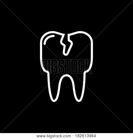 Cracked tooth flat icon, Dental and medicine, vector graphics, outline pattern on a black background, eps 10.