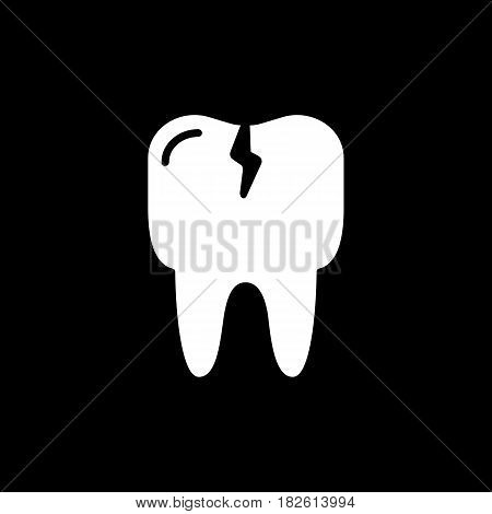 Cracked tooth flat icon, Dental and medicine, vector graphics, solid pattern on a black background, eps 10.