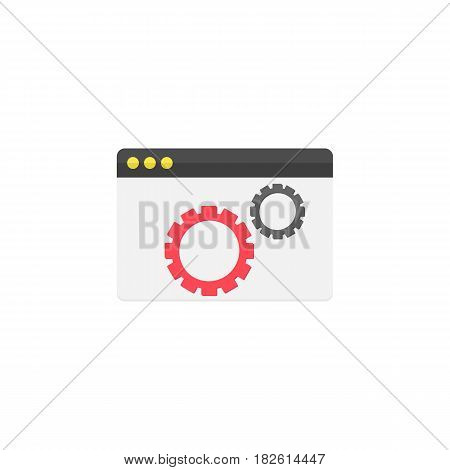 Website optimization flat icon, seo and development, browser sign, a colorful solid pattern on a white background, eps 10.