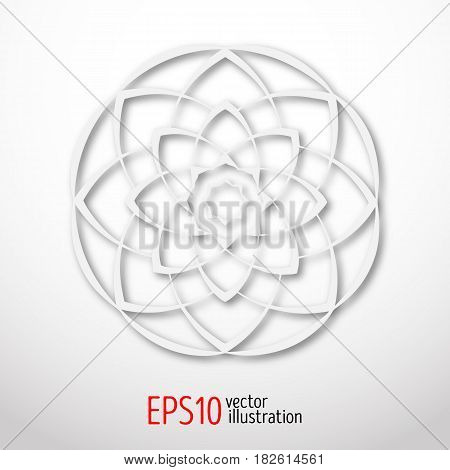 Magic white lotus in circle 3d . Sacral geometry figure. Scandinavian, celtic or eastern style illustration. Enigmatic karma or hypnotic design.