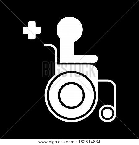 Disabled Handicap Icon. Wheelchair medical icon. Wheelchair vector illustration. isolated on black background. eps 10