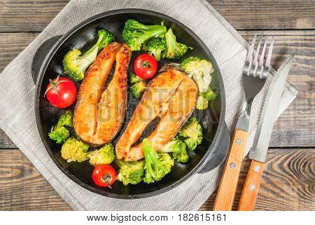 Grilled Trout (salmon) With Vegetables