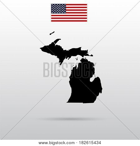 Map of the U.S. state of Michigan. American flag