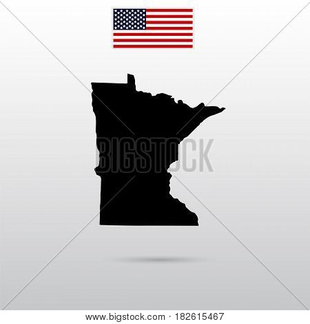 Map of the U.S. state of Minnesota. American flag
