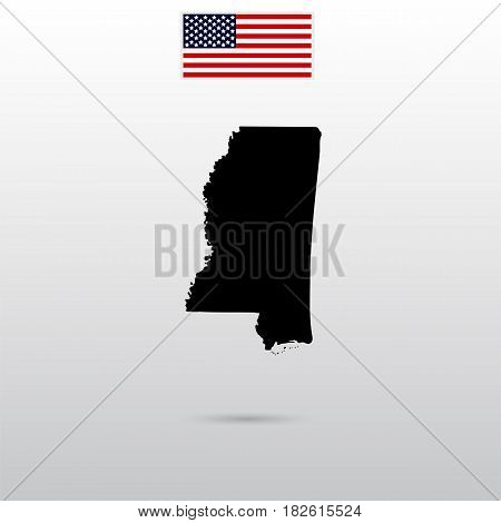 Map of the U.S. state of Mississippi. American flag