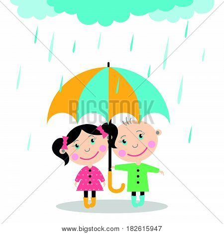Boy and girl standing in the rain under umbrella. Vector Illustration