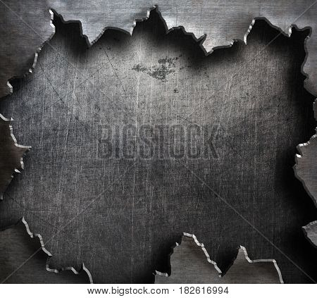 torn metal with big ripped hole 3d illustration
