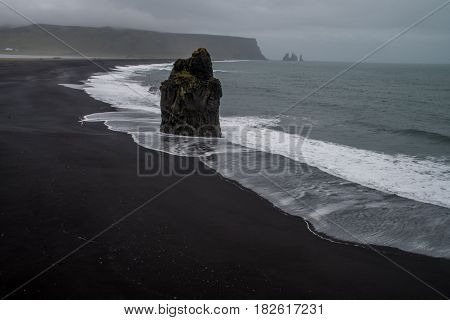 Rocks of Dyrholaey and the sea in Iceland