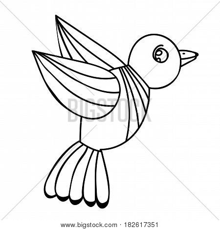 Isolated bird for adult or child coloring book and pages. Black color bird for card coloring book typography and other design.