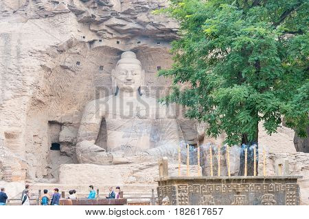Shanxi, China -  Sept 17 2015: Yungang Grottoes (unesco World Heritage Site). A Famous Historic Site