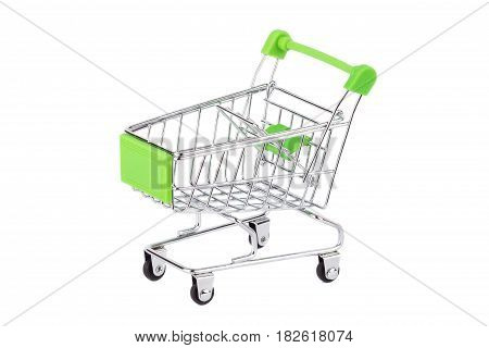 Empty Miniature Shopping Pushcart, Isolated