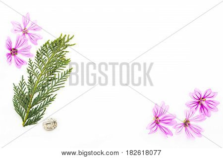 Postcard With Empty Place For Inscription From Scattered Pink Small Flowers, Twigs Of Thuja, Sea Sto