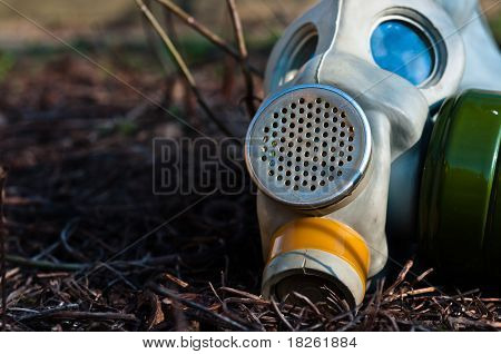 Protective Gasmask In The Middle Of A Disaster