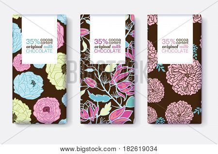 Vector Set Of Chocolate Bar Package Designs With Blue, Pink, and Brown Floral Patterns. Rectangle frame. Editable Packaging Template Collection. Packaging and Surface pattern design.