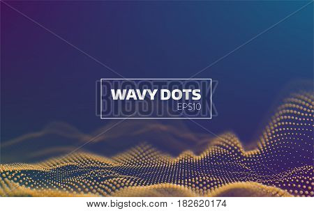 3d wavy dots background. Sound noise visualisation. Futuristic infographic for banner