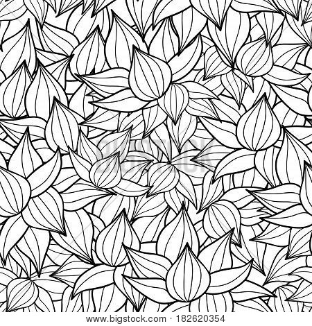 Vector black drawing succulent plant texture drawing seamless pattern background. Great for subtle, botanical, modern backgrounds, fabric, scrapbooking, packaging, invitations. Repeat pattern design.