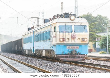 Shanxi, China - Sept 15 2015: China Railways Ss4 Electric Locomotive In Niangziguan Railway Station,