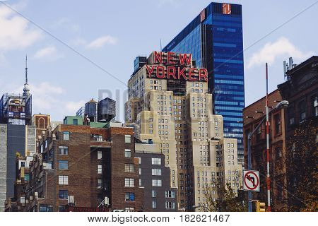 Skyline Featuring The New Yorker Hotel In The Garment Distric (manhattan, New York)